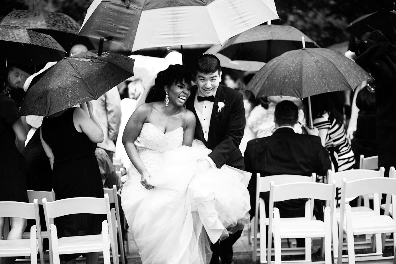 blasian couple after wedding ceremony at Westbury Gardens