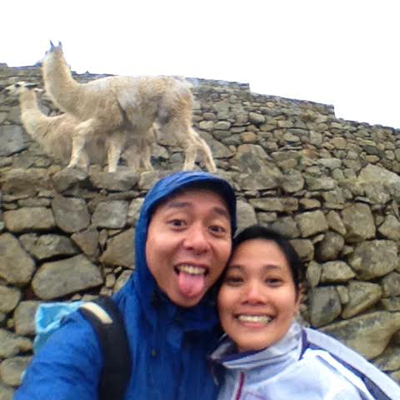 Machu Picchu llama Chinese Filipino couple