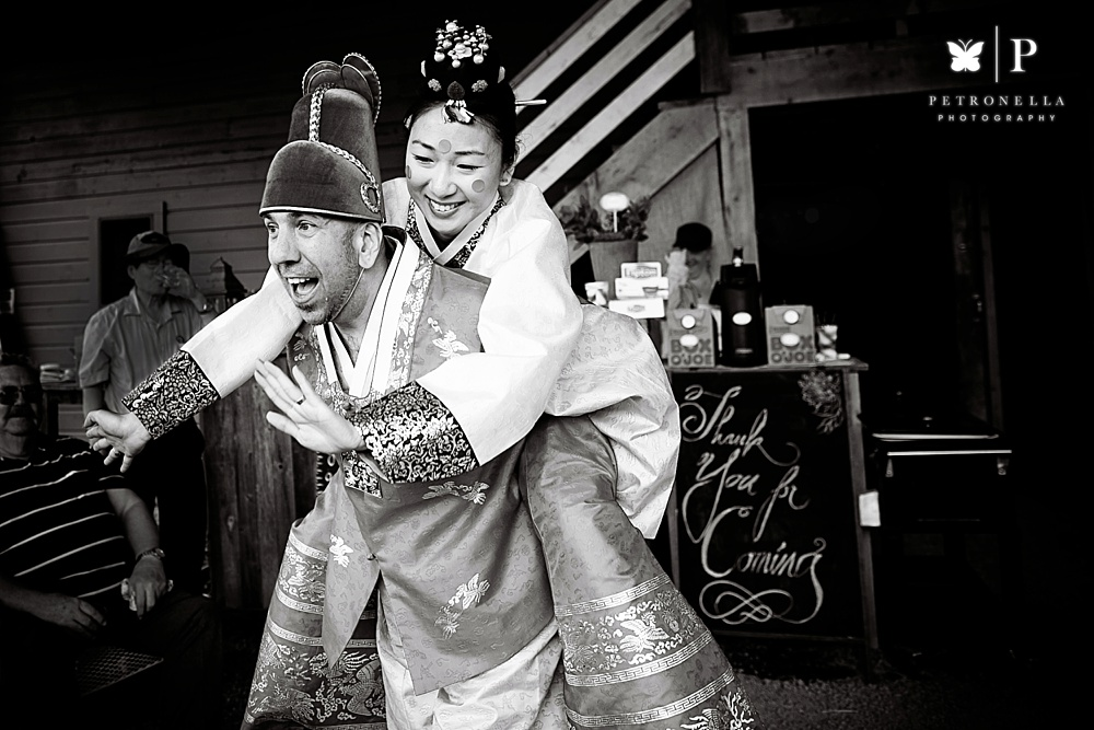 Korean Paebaek Ceremony Piggyback Ride Multicultural Wedding Petronella Photography