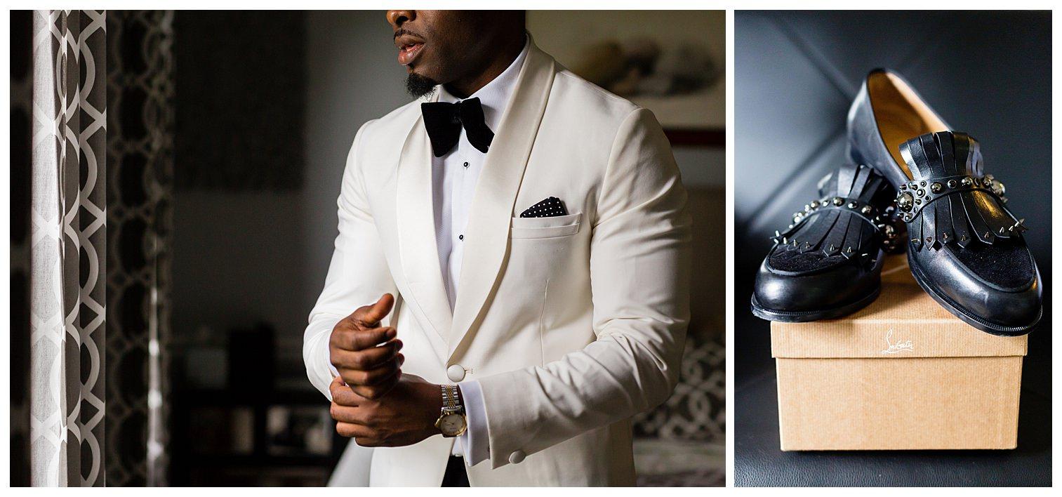Nigerian groom in Kimono Collection Bellevue Conference Nigerian luxury wedding Petronella Photography